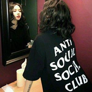 ANTI SOCIAL CLUB SOCIAL New American Fashion T-shirt des hommes Fitness Casual Blanc impression noir et col rond T-shirt chaud