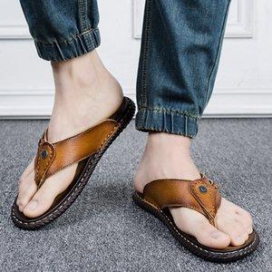 Yaz Yeni Stil inek derisi çevir Casual Deri Flip Flop Erkekler Terlik Retro Tarz Plaj Ayakkabı Men Floplar