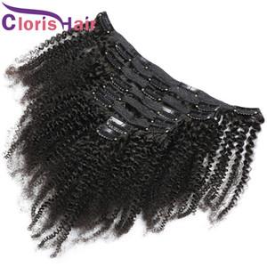 Толстого Natural Color Raw Remy индейца Clip In On Extensions волос Дешевых Afro Kinky Curly 120G копна 8шт человеческих волосы Зажим Ins 10-20inch
