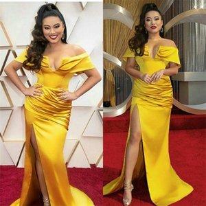 2020 Evening Dresses Off-shoulder High-split Prom Dress Sweep Train Ruched Satin Cheap Custom Made Formal Party Dresss