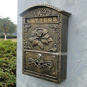 2568/6899 European Style boîte aux lettres Rétro mur journal Lettre boîte postale fer Artisanat verrouillables boîte aux lettres extérieure sécurisée Letterbox