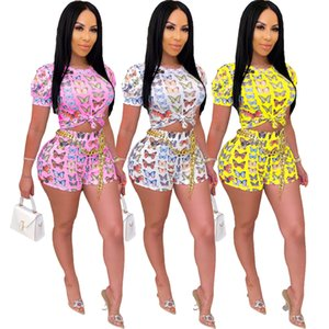 2020 New Women T-Shirt And Shorts Two-Piece Butterfly Print O-Neck skinny Leggings Shorts Fitness Outfits Wome Halter Neck Sexy Lady Outfits