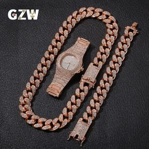 Новая мода персонализированный 20мм Золото Blingbling Mens кубинский Link цепи ожерелье браслет Часы Set Hip Hop Rapper ювелирные подарки для мужчин Парни