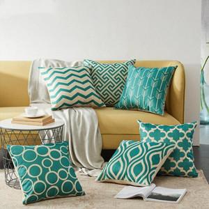 Geometric Cushion Covers Quatrefoil Teal Linen Throw Pillow Case Bed Decorative Throw Pillows Case Sofa Decor