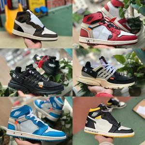 Продажи 2019 Новые Трэвис Скоттс X 1 High OG Середина Баскетбольные кроссовки Дешевые запрещенные разводят черный белый носок Мужчины Женщины 1с Не для перепродажи V2 Presto обувь