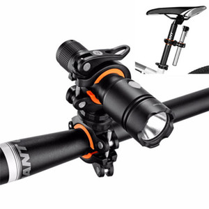 Girar 360 bicicletas linterna LED soporte de montaje en flash de la antorcha soporte frontal Luz de bicicletas Bastidores Clip accesorios de bicicletas