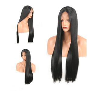 14-26 pouces synthétique avant de lacet perruques noir longue ligne droite haute qualité perruques de cheveux bébé cheveux livraison gratuite