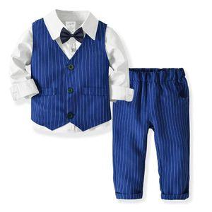Gentleman terno menino manga longa camisa + colete + tie calças 4pcs formais listrado estudante roupas uniformes menino