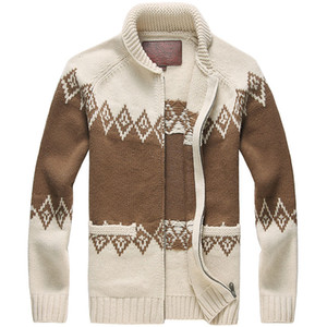 Para hombre de lana capa de los hombres Chaqueta de punto de Argyle invierno espesan la pesada chaqueta de punto chaqueta de punto de los hombres 80% Lana 20% Acrílico