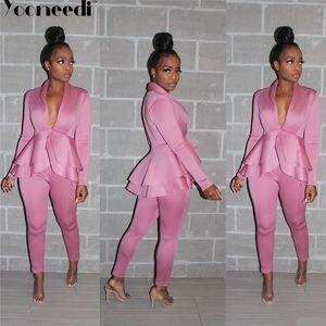 Yooneedi 2019 Autumn design de escritório Lady 2 pcs Blazers Mulheres Set 4 Estilo Blazers e calças compridas SFY-056