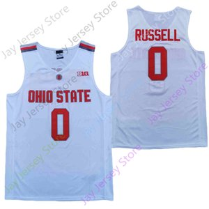 2020 New Ohio State Buckeyes College Basketball Jersey NCAA 0 Russell White Red All Stitched and Embroidery Men Youth Size