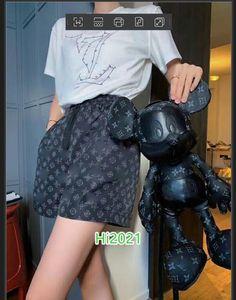 la camiseta ocasional patrón de traje de las mujeres de letras de impresión de alta gama Chica apliques de jersey + letra del monograma de impresión cortos 2020 de lujo de la moda de sistemas del diseño