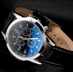 2019 унисекс бизнес мужские часы Blue-ray стекло кожа Женева мужчины кварцевые часы мода платье подарок Наручные часы для мужчин женщин