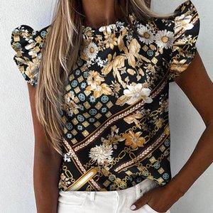 Daisy Pineapple Impressão Ruffle Blusa shirts Senhora Escritório 2020 mulheres verão de manga curta de Slim Blusas Tops Sexy