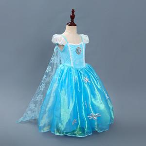 Хэллоуин костюмы платье Детского Рождественский Косплей принцесса платье для Exclusive Снежинки Длинных кружев Мыса платья для детей партии HH7-939