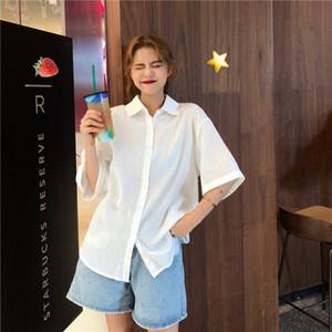 Summer 2020 new Korean version of loose short sleeve shirt women Joker solid color design sense of foreign style women's clothing