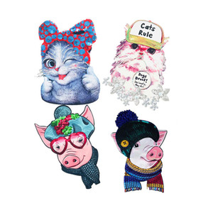 10 piezas de tela bordado con lentejuelas gato de dibujos animados cabeza de cerdo digitales impresas animales de tela parches parches lentejuelas vestido de hierro sobre trabajo hecho a mano de bricolaje