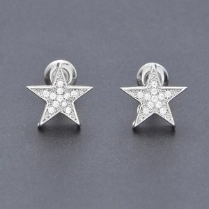 New Arrival Iced Out Cubic Zirconia Pentagram Stud Earrings Mens Womens Gold Plated Stud Earring Hip Hop Rapper Jewelry Gifts for Boys Girls