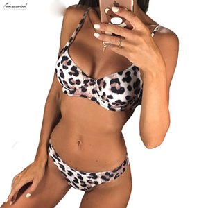New Sexy Leopard Bikini Women Set Female Swimsuit Two Pieces Bikini Swimwear Underwire Bather Bikinis Bathing Suit Swim Wear V872