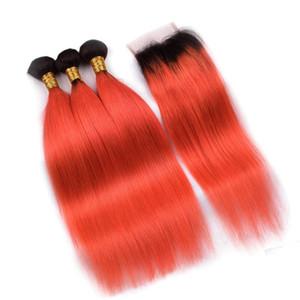 Dark Root #1B Orange Ombre Peruvian Human Hair Weave Bundles with 4x4 Lace Closure Straight Ombre Orange Virgin Hair 3 Bundle Deals