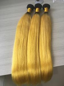 3 Bundles Ombre Hair Extension Giallo Ombre trama dei capelli Tesse fasci di seta brasiliani dritto all'ingrosso