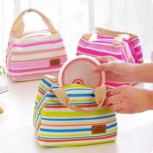 Canvas Stripe Picnic Lunch Drink Thermal Insulated Cooler Tote Bag 450ML Portable Carry Case Lunch Box 6 Colors LX1895