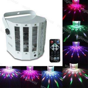 LED 효과 18W 9Color 나비 레이저 더블 검 Light 미사용 FO KTV 바 플래시 음성 제어 회전 무대 조명 DMX512 DJ 장비 DHL