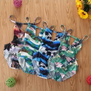 Kids Swimwear Baby Girls Floral Printed Bikini One-Pieces Summer Fashion Suspender Backless Swimsuit Children Frenulum Bathing Suit BYP712