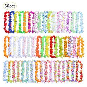 50 teile / paket Hawaiian Leis Kranz Halskette Künstliche Blume Für Hochzeit Dekoration Lieferungen DIY Geschenk Dekoration