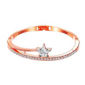 Pentagram pulseira de zircão Bangles coreano frescos cristal pulseiras Bangles Pulseiras para mulheres Student Girlfriends Pulseira presente