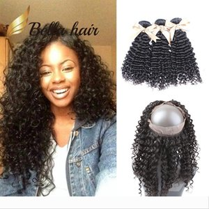 Designer Bella 360 Lace Frontal Closure with Bundles Brazilian Curly Wave Natural Color Virgin Human Hair Weaves with Front Lac