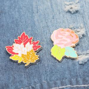 Maple Leaf Karanfil Çiçek Kırmızı Pembe Kişilik Yaratıcı Broş Karikatür Özel Tide Yeni Yaka Denim Rozet iğneler
