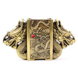 Gold dragon buckle belt lighter belt buckle head metal punk style belts parts men's lighter belt Gas lighter male