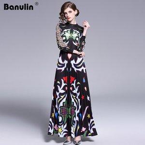 Banulin 2019 Runway Langes Maxikleid Frauen Hohe Qualität Charming Floral Langarm Patchwork Elegante Vintage Bodenlangen Kleid Y19073101