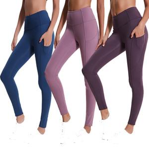 pantaloni di yoga delle donne alti della vita ad asciugatura rapida esecuzione sport leggings pieni signore pantaloni sport fitness tasche che coprono i pantaloni sportivi hip hip