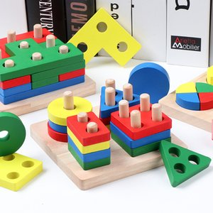 DIY modèle de carte d'appairage forme jouet en bois blocs de construction géométrique Montessori apprentissage précoce ensemble jouet éducatif pour les enfants T200622