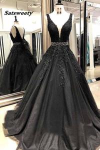 Siyah Uzun Gelinlik Modelleri Boncuk V Yaka Balo Tül Aplikler Dantel Suudi Arapça Abiye Elbise abiye gece elbisesi