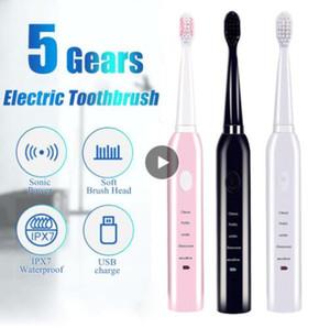 Ultrasónico de gran alcance sónico cepillo de dientes eléctrico recargable lavable carga cepillo de dientes para blanquear cepillo de dientes electrónico de carga USB