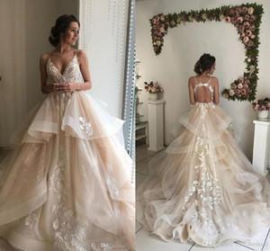 Романтический шампанское элегантный кружева свадебные платья 2019 ремни V шеи Sexy Open Back тюль свадебные платья с кружевными аппликациями на заказ