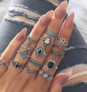 Ring 15 Stück gesetzte weibliche Art und Weise Silber Retro-Welle Domino Diamant Strandparty Sommer Modeschmuck beliebt Großhandel