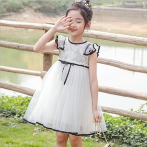 Summer Girls Birthday Party Dress Baby Girl Lace Fly Sleeve Tulle Bow Party Tutu Dresses Kids Princess Dress Children Clothes T200417