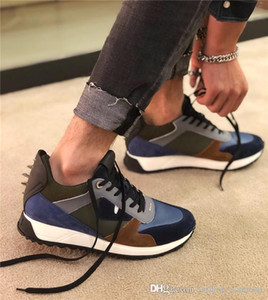 Classic Mens Sneakers con borchie Spikes, Borsa BUGS OCCHI DELLA SCARPA DA TENNIS formatori con nero e pelle gialla in scarpe di marca stringate con Box