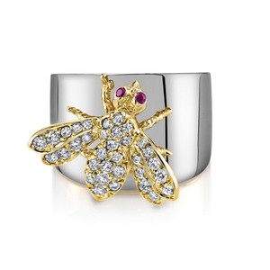 New Arrival Rhinestone Bee Finger Ring Women Insect Bee Zircon Ring Gift for Love Girlfriend High Quality Size 6-10