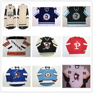 Personalizzati AHL Wilkes Barre Scranton Penguins 14 Shane Endicott 4 Chris Kelleher Authentic Hockey Jersey Nero Blu Bianco cucito Logos