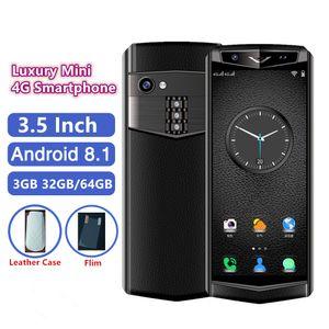 جيب السوبر ميني 4G متنقل ترف الهواتف الذكية 3.5 بوصة 3GB RAM 32G ROM الروبوت 8.1 واي فاي GPS الوجه ID أصغر جلد حالة الهاتف المحمول مجانا