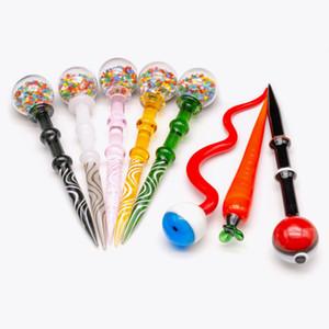2019 Colorful Dab strumento di vetro Dabber Rosa Stick Carve Dab Strumenti cera strumento Carb Cap per il quarzo banger papà Rigs Bong