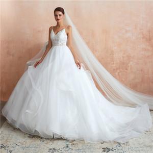 Великолепное бальное платье Свадебные платья 2020 Hot Sexy Спагетти Ремень Аппликации Иллюзия Топ Ruched Тюль Свадебные Платья С Корсетом Назад CPS1437