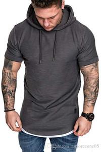 Модельер с капюшоном Мужской Tshirts Спорт Твердых короткий рукав Homme Верхней одеждой Летней мужской одежды