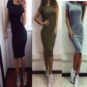 Womens Dress Vestido Short Sleeve Slim Bodycon Dress 튜닉 크루 넥 캐주얼 펜슬 드레스 2018 New Arrival
