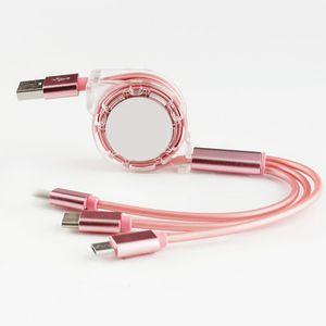 Schnelle Lade Magnetic USB-Kabel 3 in 1 Allgemeines Mikrokabel 1M 1.5M 1 Link 3 Teleskop-Ladegerät Datenleitung